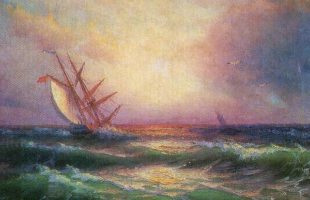 Эммануил Магдесян, картина - Вид моря с парусными лодками