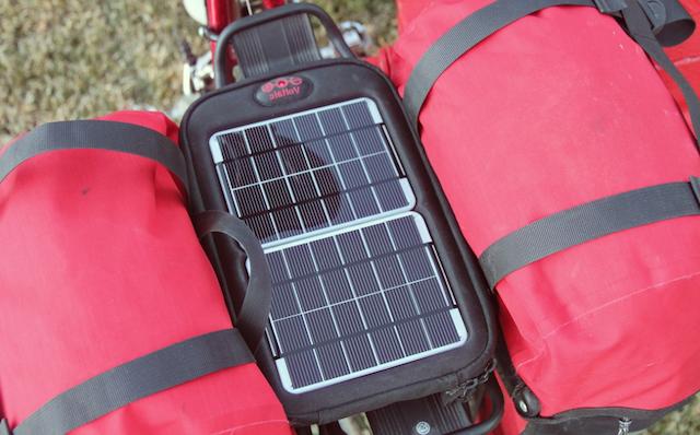 Солнечная зарядка на велобагажник